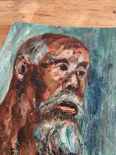 Portrait huile sur panneau vintage