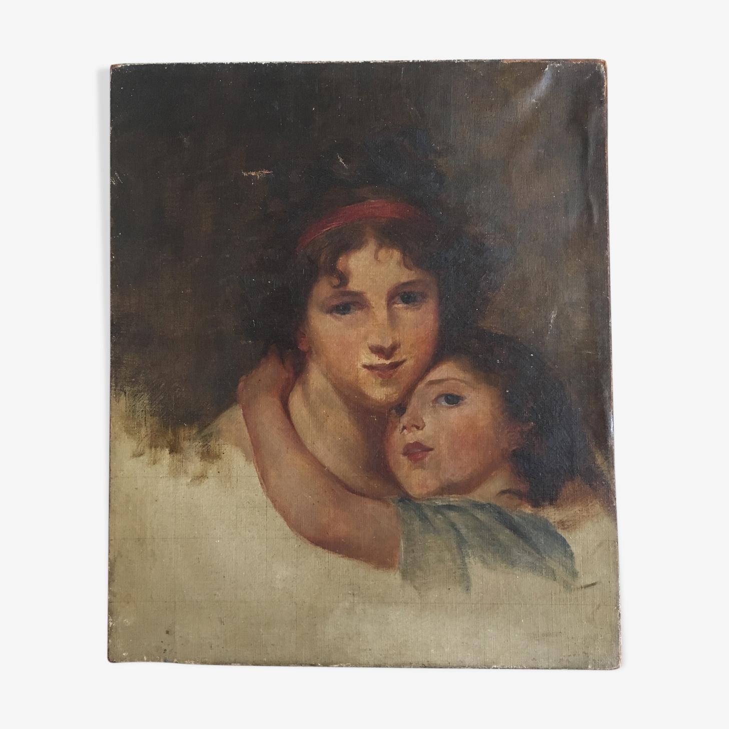 Portrait de jeune femme 1800s et sa fille, début 20e
