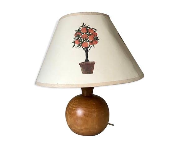 Lampe de chevet boule en bois vintage   Selency