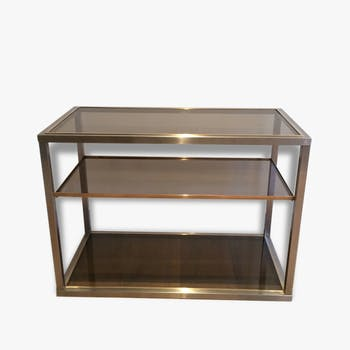 Console brushed metal and brass, Guy Lefèvre, around 1970