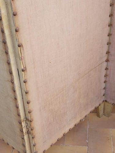 Paravent ancien 4 feuilles bois et tissu