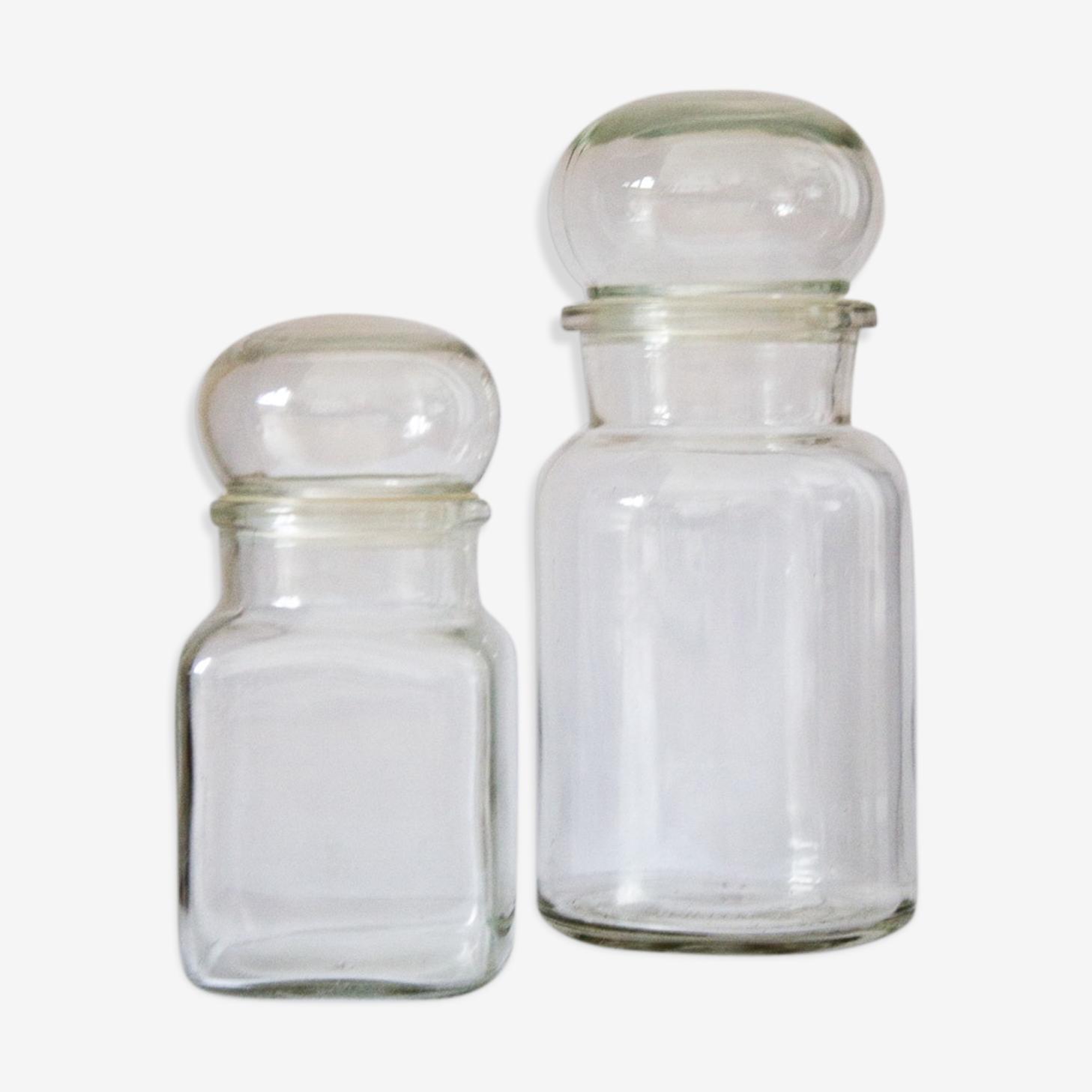 Lot de 2 bocaux transparents