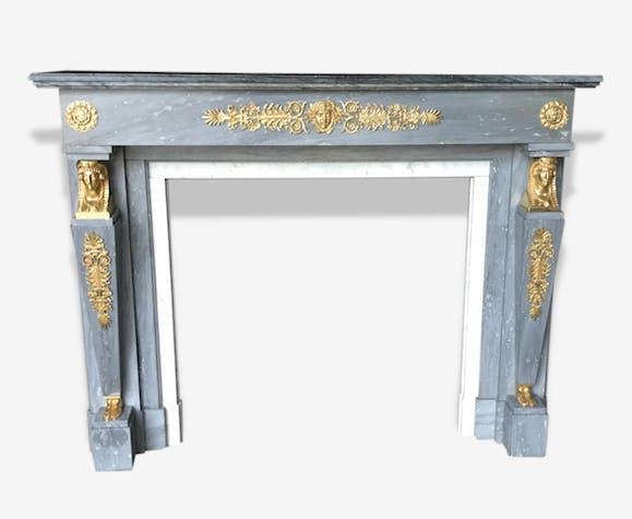 turquin bleu Bronze style empire marbre Et de Cheminée SqIWX