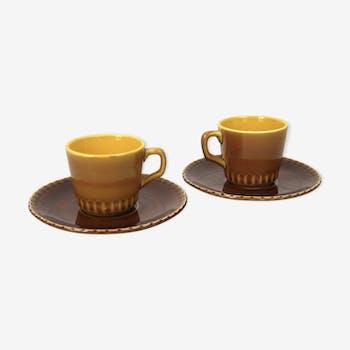 Deux tasses et soucoupes Digoin