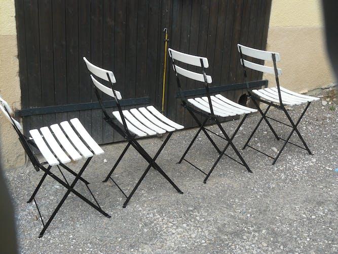 Set of four folding garden chairs