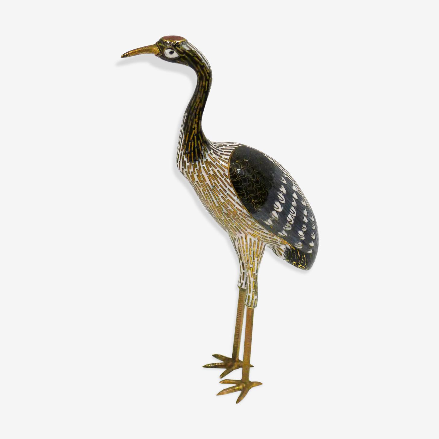 Brass and enamel heron