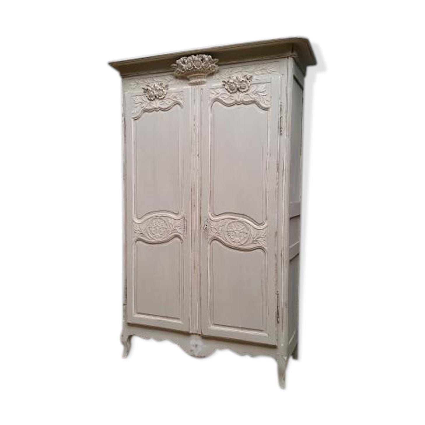 armoire normande peinte xixeme - bois (matériau) - beige - vintage