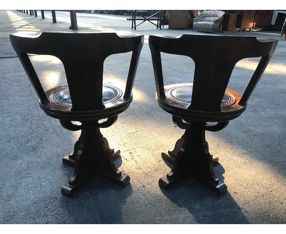 Pair of mahogany boat chairs 1970