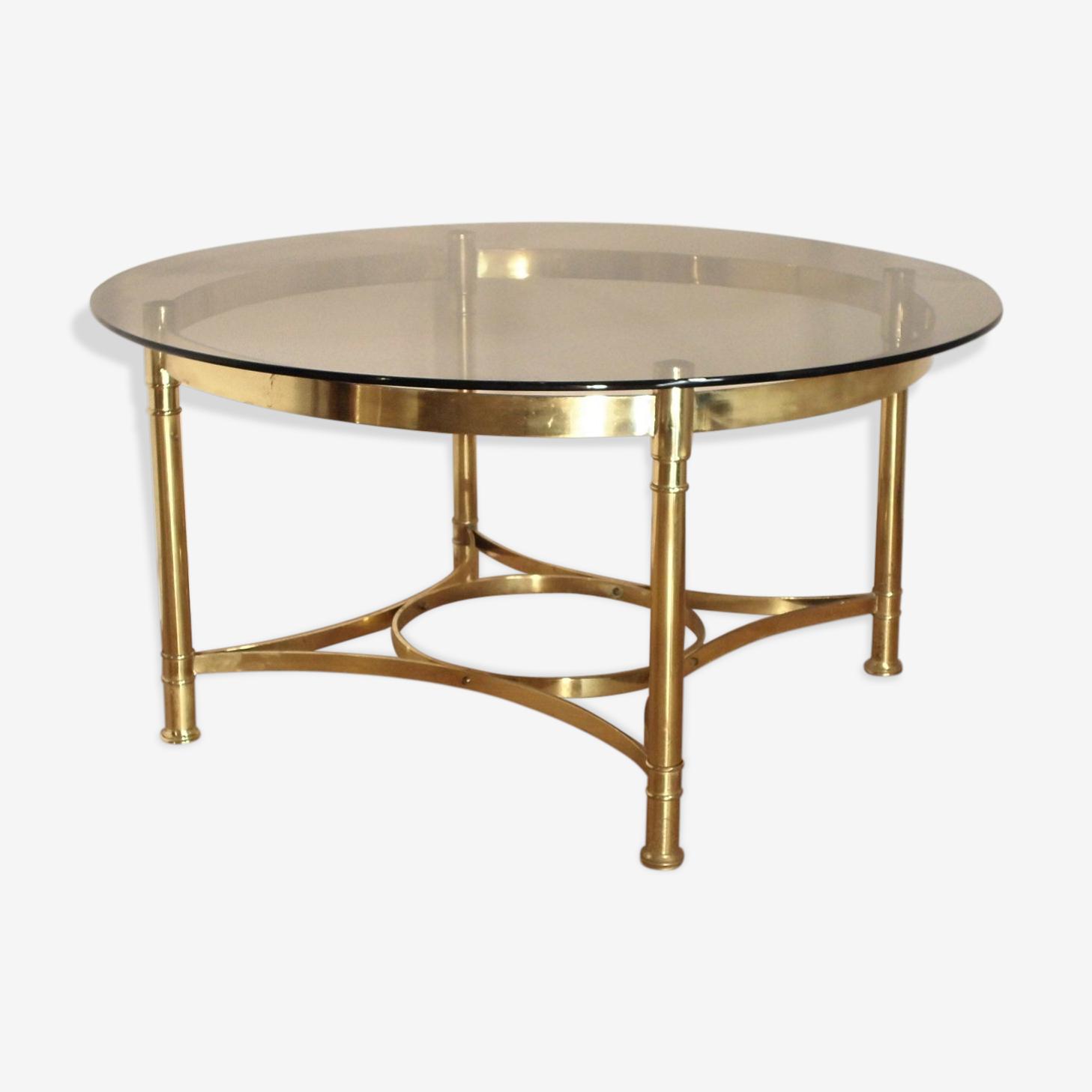 Table basse ronde en laiton et plateau en verre fumé amovible