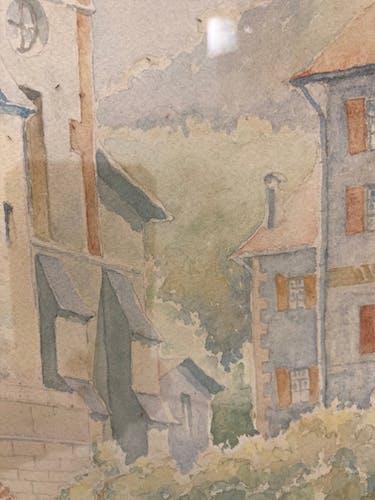 Paysage à l'aquarelle pont et église signé