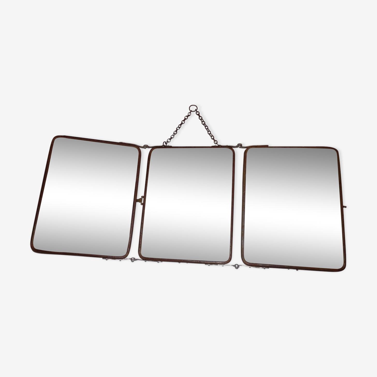 Miroir triptyque de barbier 18x24cm