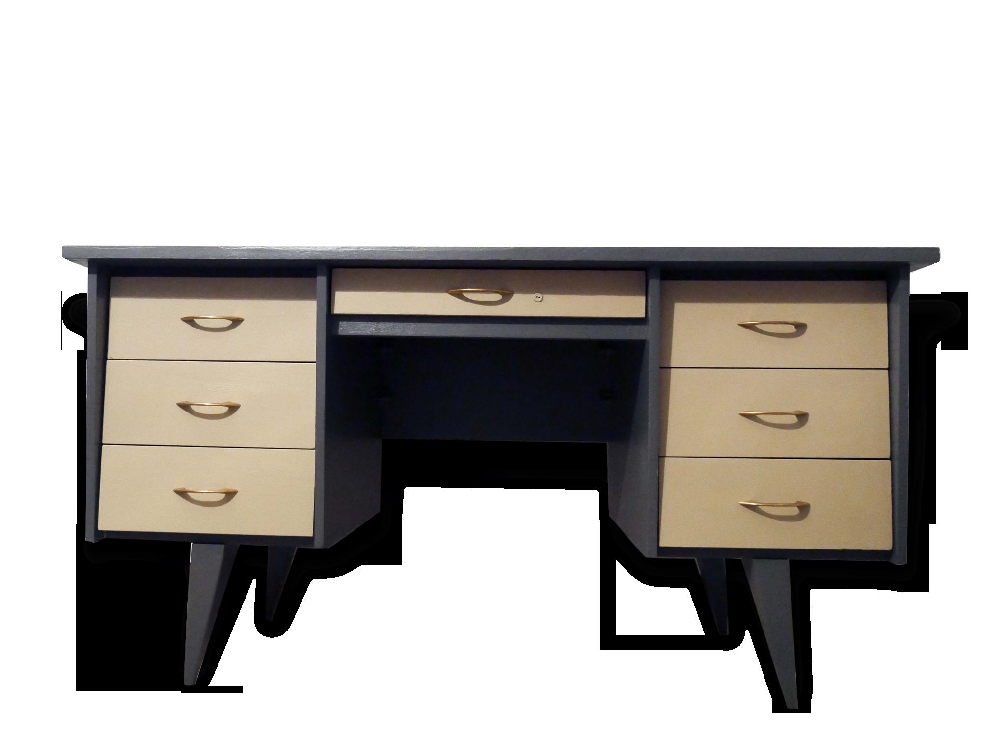 Bureau vintage bois anthracite beige pied compas bois