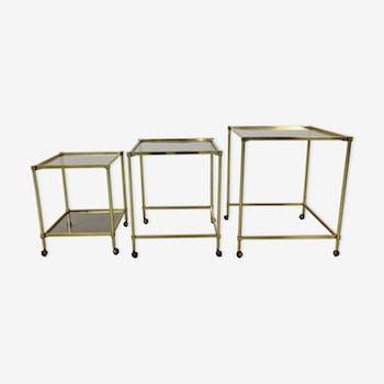 Tables gigognes en laiton avec plateau en verre