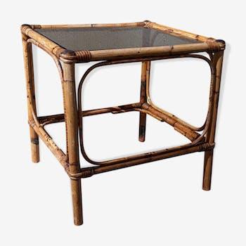 Table basse rotin bambou vintage