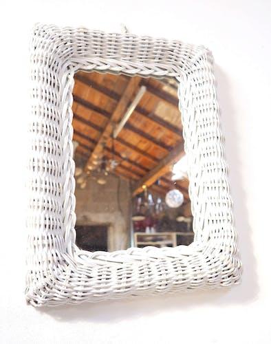 Miroir rotin blanc 27x40cm