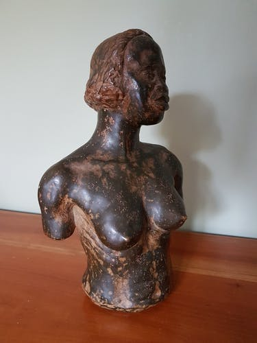 Black and bronze patinated terracotta bust
