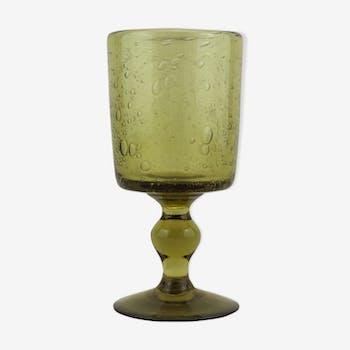 Bougeoir à pied en verre bullé de Biot vert
