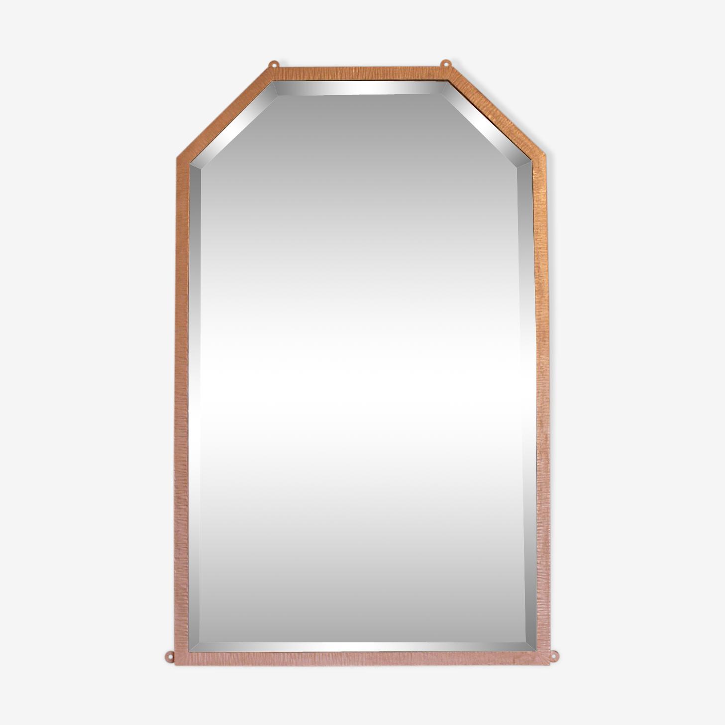 Art deco gold patinated metal mirror pink 65x105cm