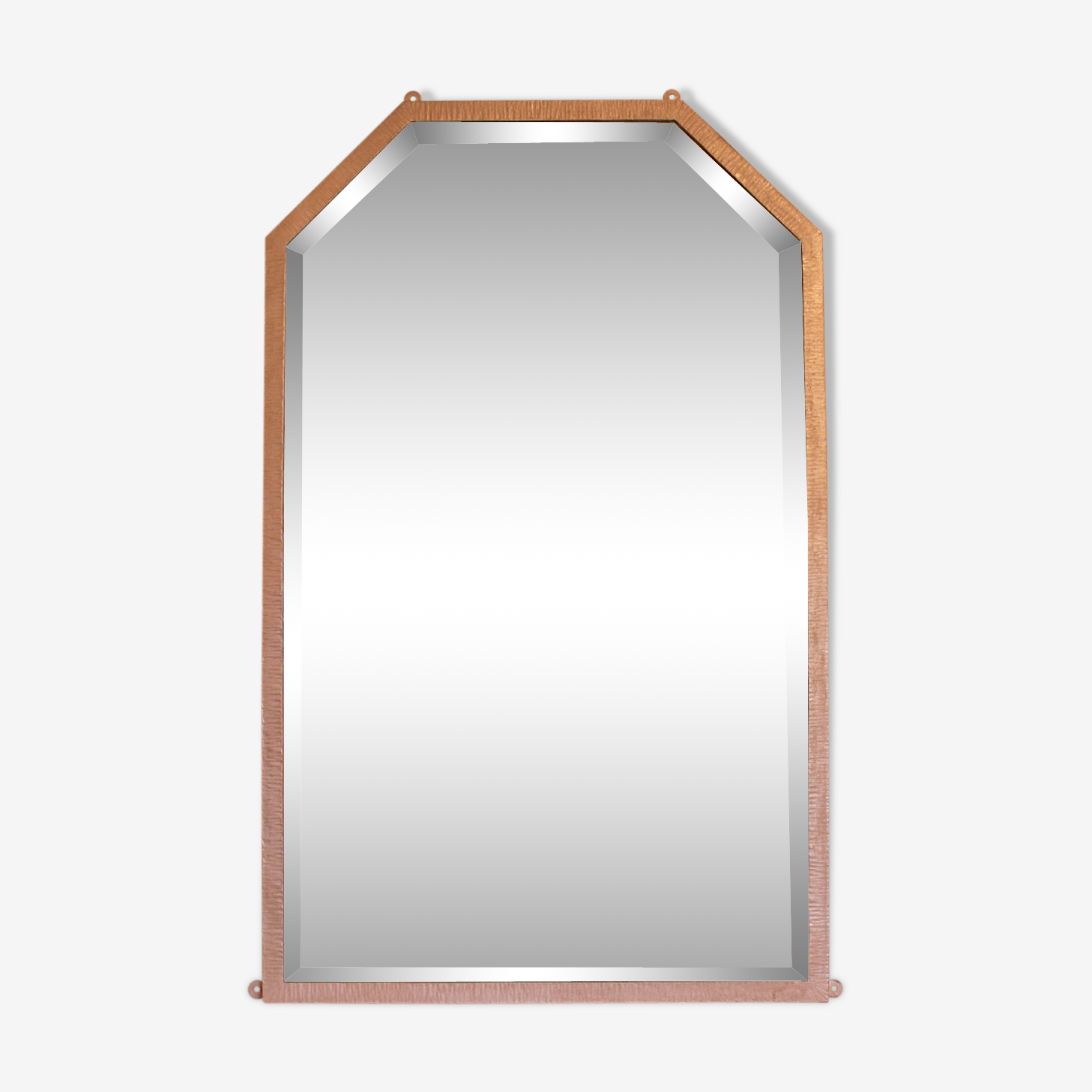 Miroir art-déco en métal patiné or rose 65x105cm