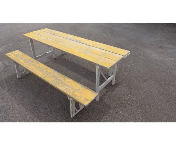 Table pliante et son banc de guinguette