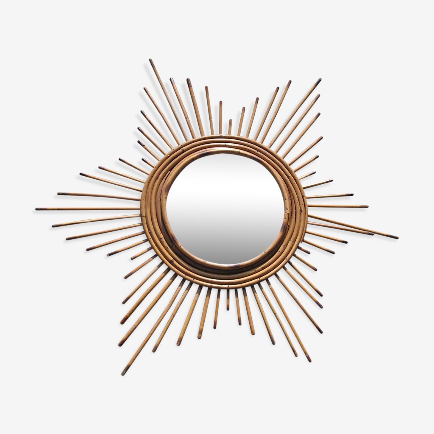 Miroir soleil en osier années 70 62cm