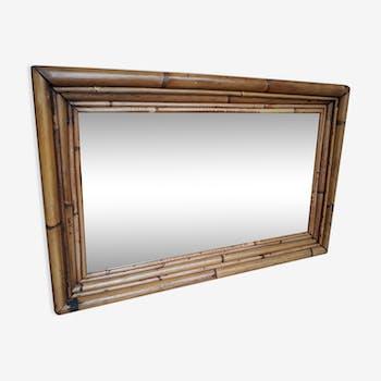 Miroir rotin et bambou 1960 67x43cm