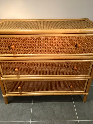 Commodes vintage, cannage en rotin