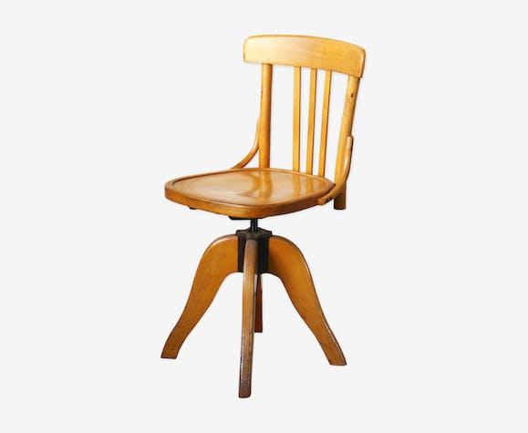 chaise de bureau américaine pivotante jim - bois (matériau) - bois