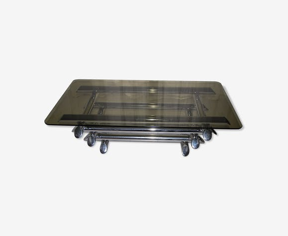 Table Basse Verre Fume Willy Rizzo Annees 70 Metal Argent
