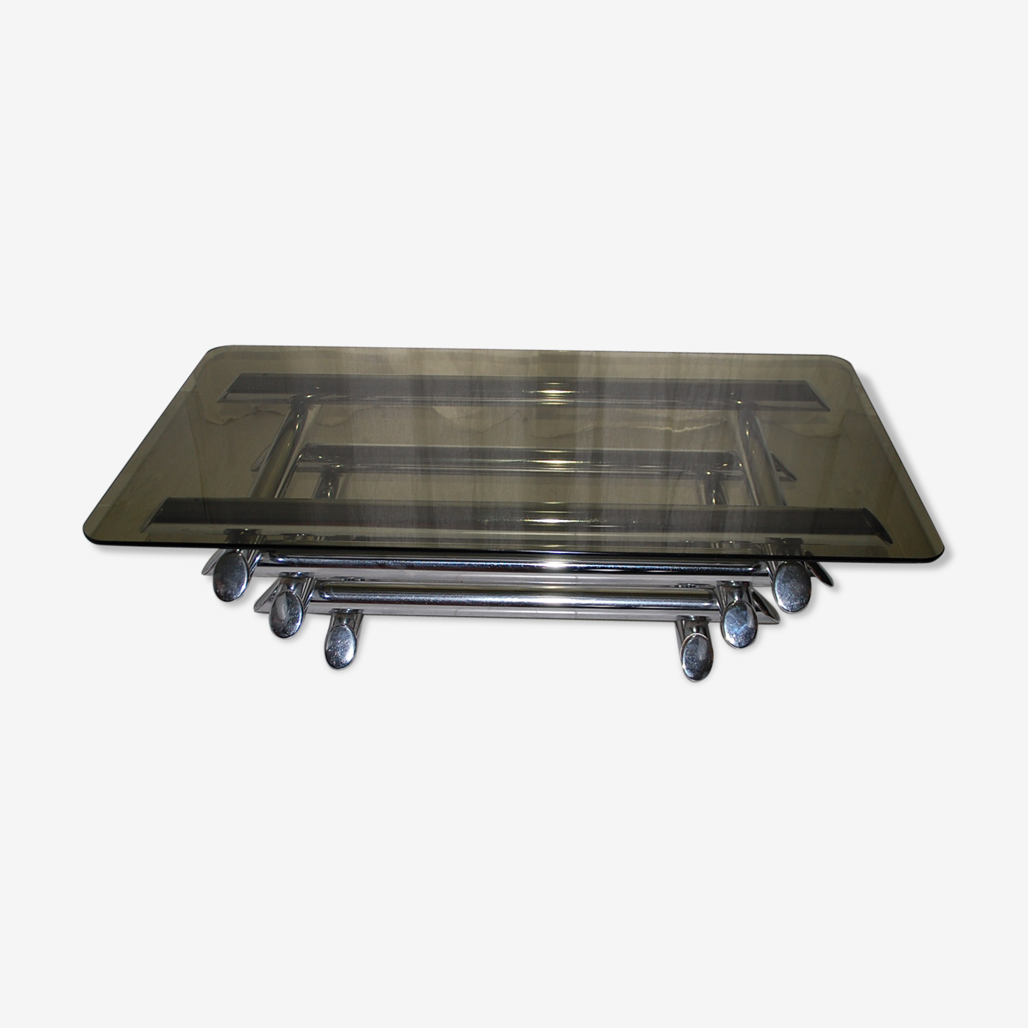 Table Low Smoked Glass Willy Rizzo Years 70 Metal Silver Color