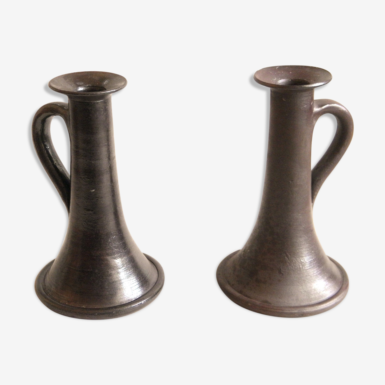Pair of candlesticks in glazed stoneware
