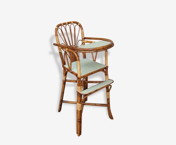 Ancienne Chaise Haute En Rotin Vintage