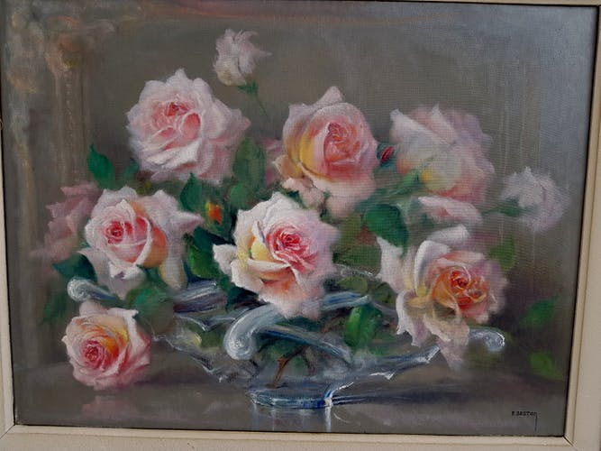 Table oil on canvas bouquet of roses by Paul Seston