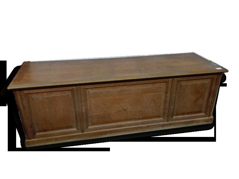 Grand bureau ancien en chne ou table de mtier comptoir bois