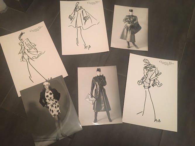 """Christian dior: illustration de mode """"collection automne - hiver 1987 -88"""" et photographie originale de presse vintage"""