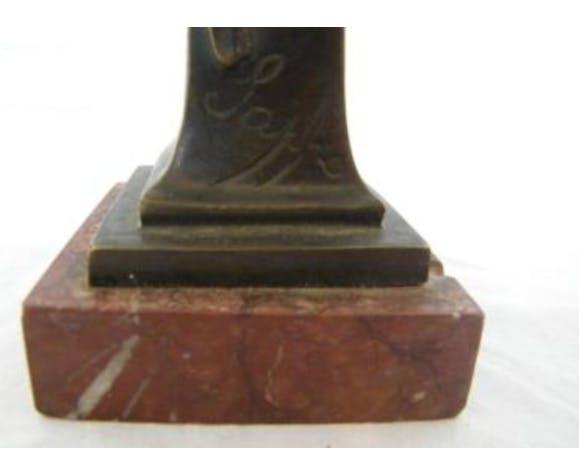 Buste profil femme bronze sur marbre intitulé Sapho signé Jarois 1900