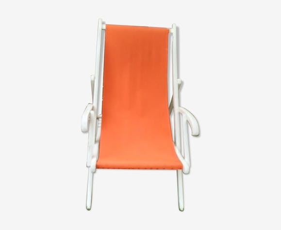 Chaise longue chilienne transat de couleur orange