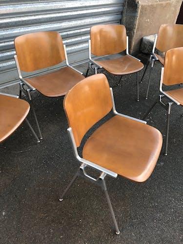 Lot de 6 chaises de Giancarlo Piretti éditées par Castelli