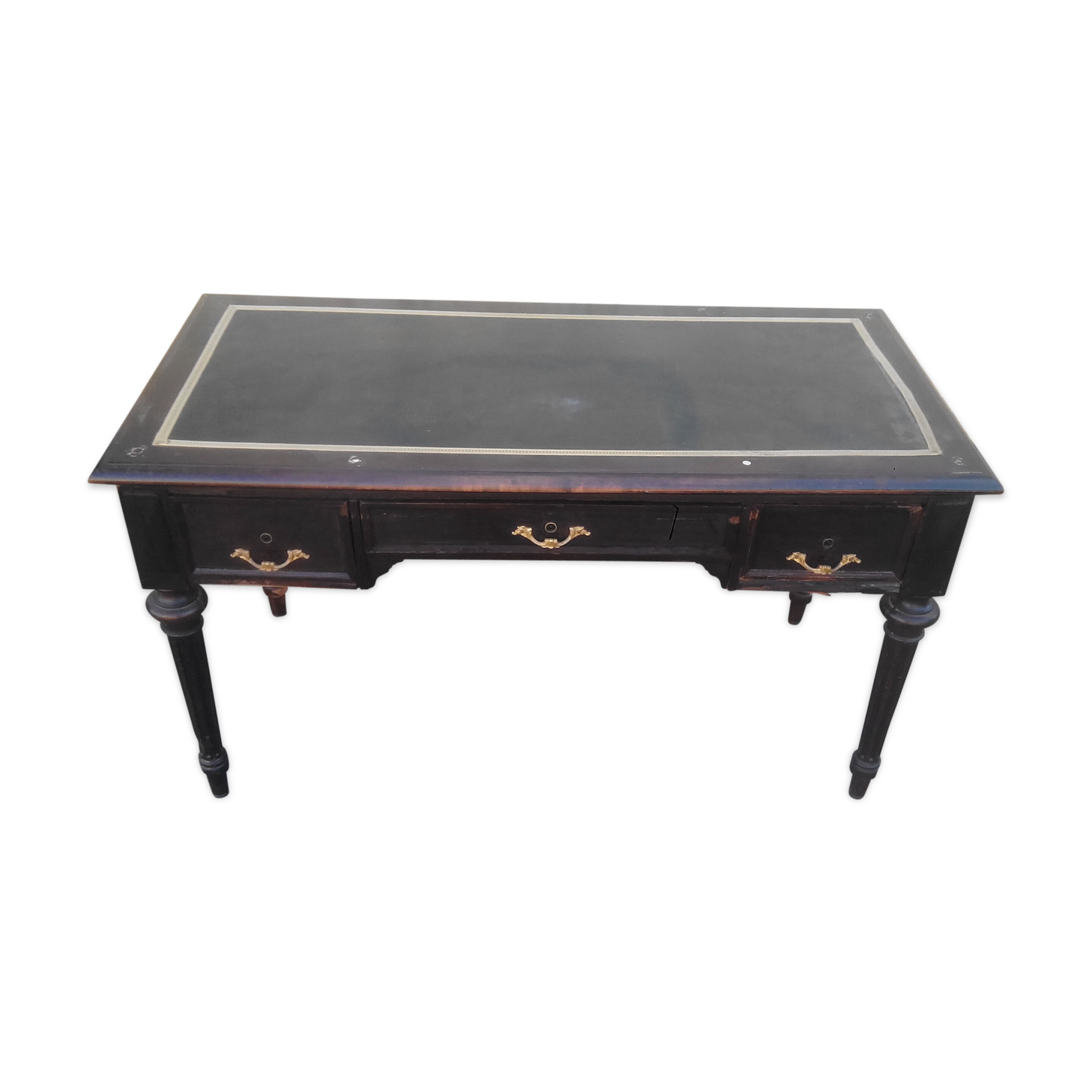 Bureau style louis xvi en bois noirci bois matériau noir
