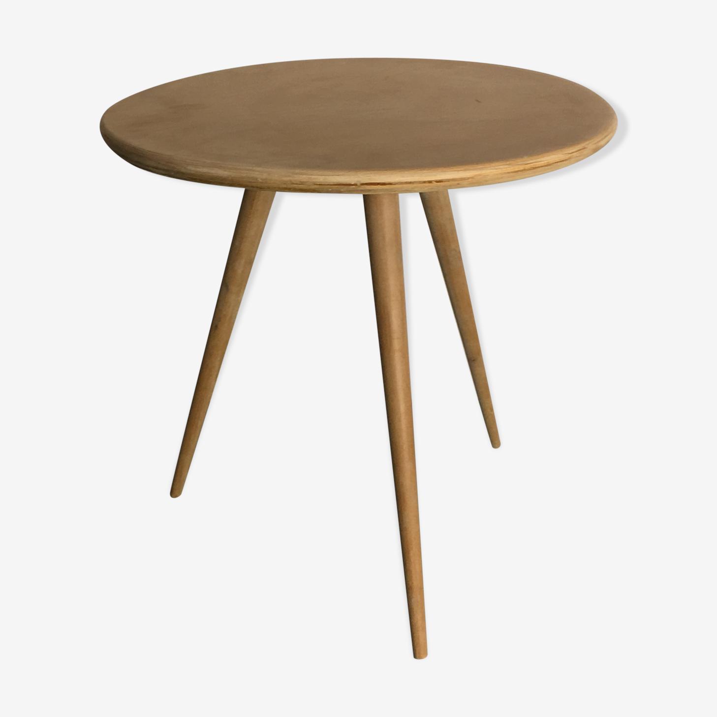 Table basse tripode vintage années 60 bois brut