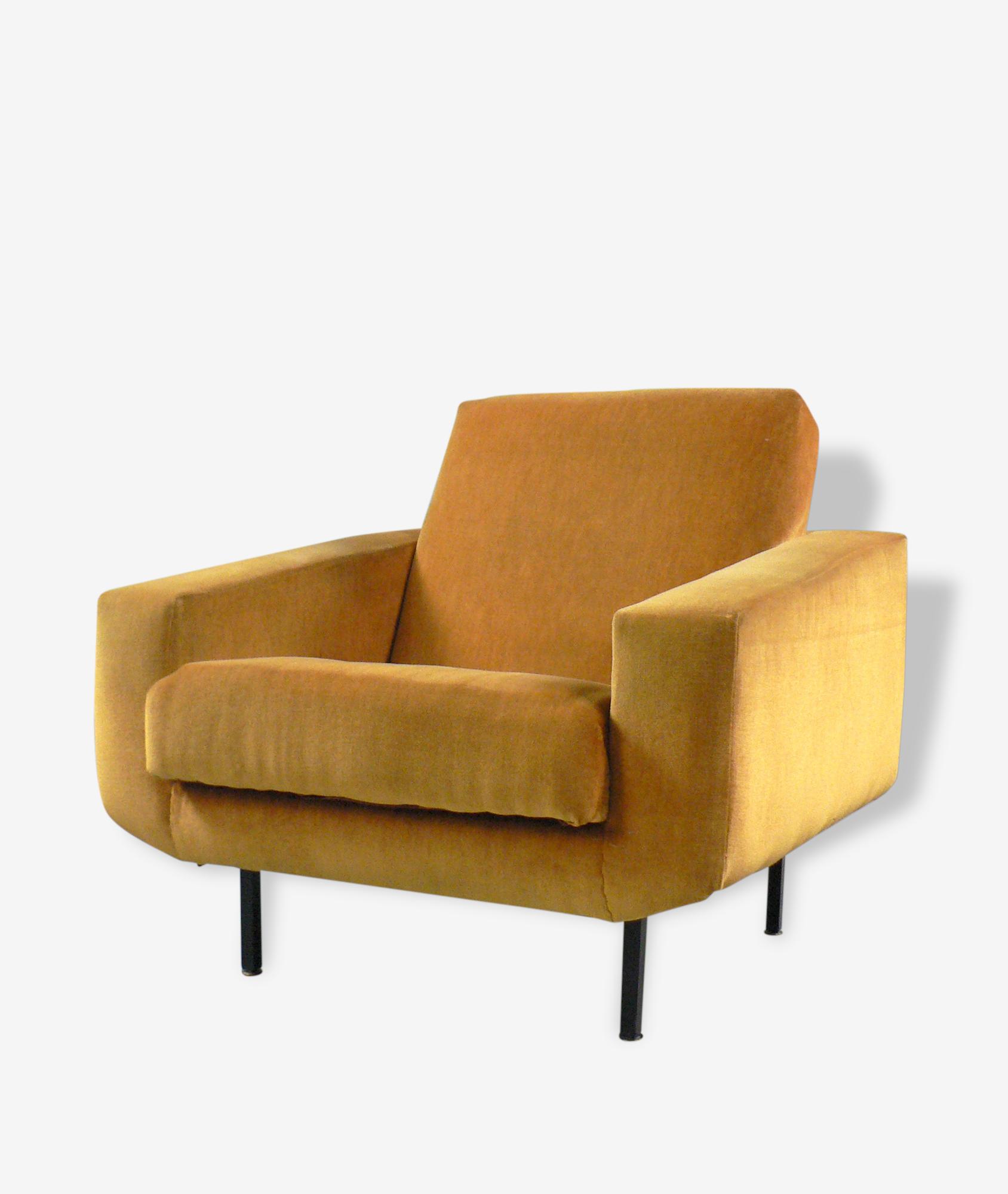 Paire de fauteuils 50s velours ocre.