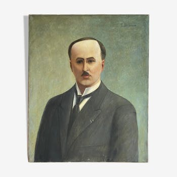 Ancient painting, portrait of a man with a mustache , signed Louis Debiesse, circa 1930