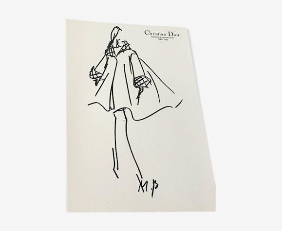 Esquisse de mode & photographie de de presse Christian Dior 1987-1988