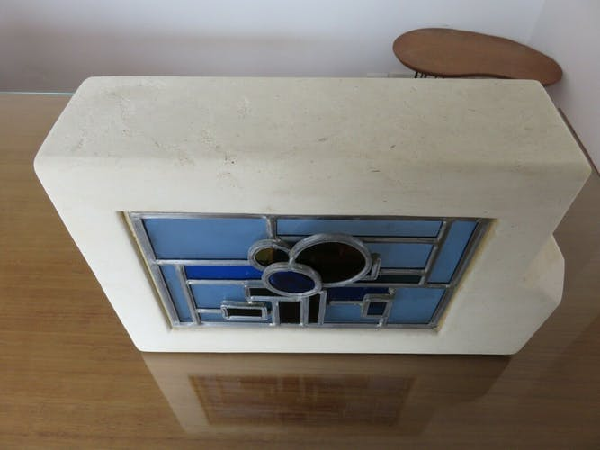 Stone lamp and stained glass years 60/70