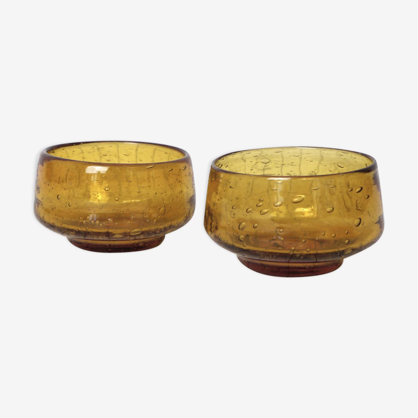 Two yellow bubble glass bowls