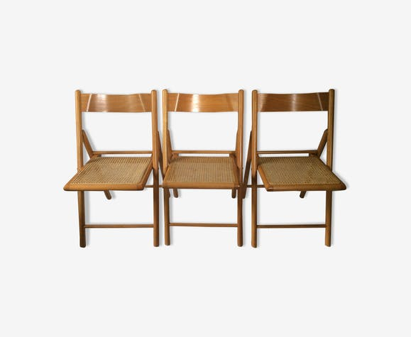 Trio of vintage cantique folding chairs