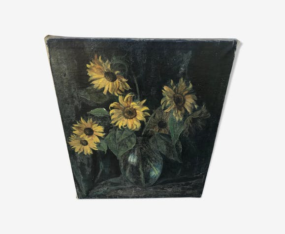 Large old canvas bouquet of sunflowers