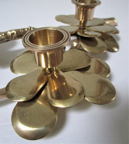 Brass candle with three vintage flowers