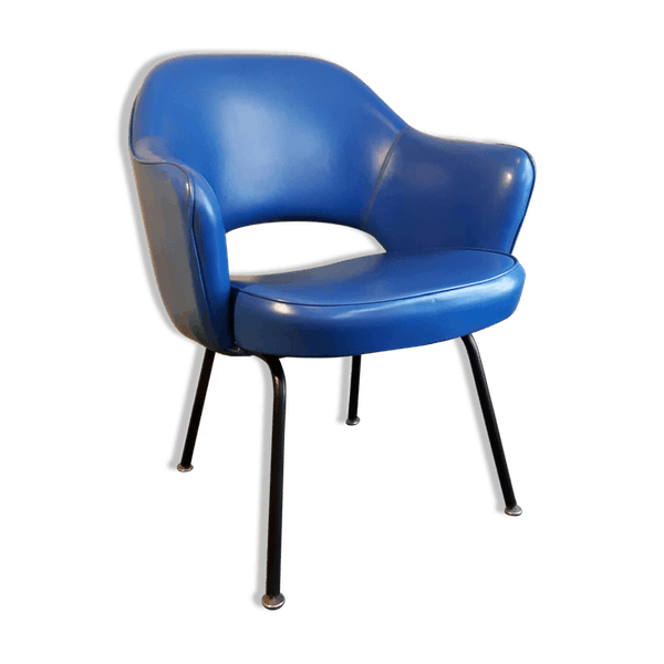 fauteuil conf rence eero saarinen pour knoll bois mat riau bleu design cpaoyto. Black Bedroom Furniture Sets. Home Design Ideas