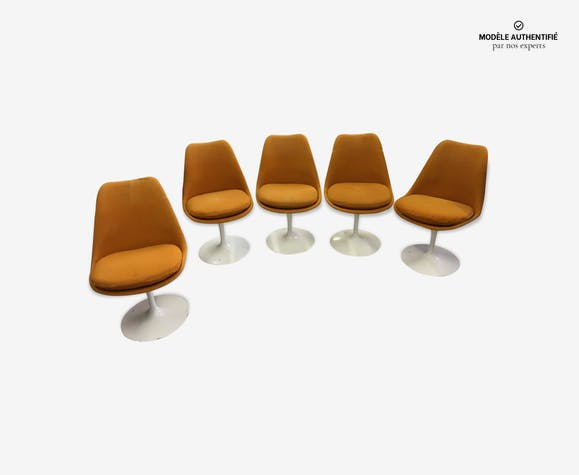 lot de 5 chaises tulipe knoll de eero saarinen plastique. Black Bedroom Furniture Sets. Home Design Ideas